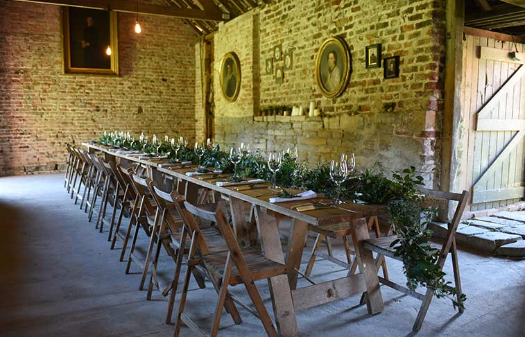 Table setting in the potting shed